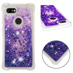 Dynamic Liquid Glitter Sand Quicksand Star TPU Case for Google Pixel 3 - Purple