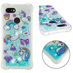 Fashion Unicorn Dynamic Liquid Glitter Sand Quicksand Star TPU Case for Google Pixel 3