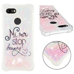 Never Stop Dreaming Dynamic Liquid Glitter Sand Quicksand Star TPU Case for Google Pixel 3