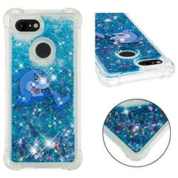 Happy Dolphin Dynamic Liquid Glitter Sand Quicksand Star TPU Case for Google Pixel 3