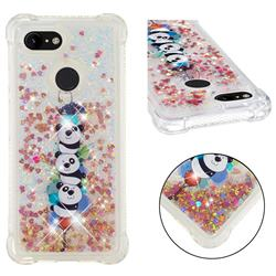 Three Pandas Dynamic Liquid Glitter Sand Quicksand Star TPU Case for Google Pixel 3