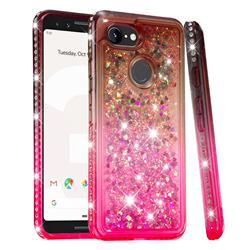 Diamond Frame Liquid Glitter Quicksand Sequins Phone Case for Google Pixel 3 - Gray Pink