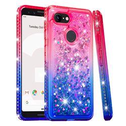 Diamond Frame Liquid Glitter Quicksand Sequins Phone Case for Google Pixel 3 - Pink Blue