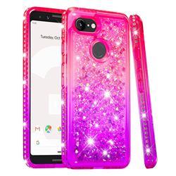 Diamond Frame Liquid Glitter Quicksand Sequins Phone Case for Google Pixel 3 - Pink Purple