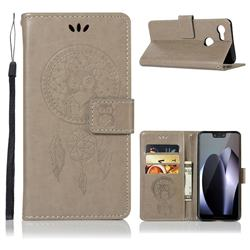 Intricate Embossing Owl Campanula Leather Wallet Case for Google Pixel 3 - Grey