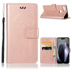 Intricate Embossing Owl Campanula Leather Wallet Case for Google Pixel 3 - Rose Gold