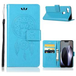 Intricate Embossing Owl Campanula Leather Wallet Case for Google Pixel 3 - Blue