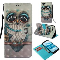 Sweet Gray Owl 3D Painted Leather Wallet Case for Google Pixel 3