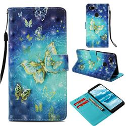 Gold Butterfly 3D Painted Leather Wallet Case for Google Pixel 3