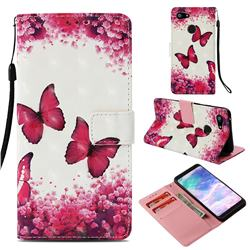 Rose Butterfly 3D Painted Leather Wallet Case for Google Pixel 3