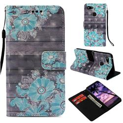 Blue Flower 3D Painted Leather Wallet Case for Google Pixel 3