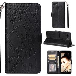 Embossing Fireworks Elephant Leather Wallet Case for Google Pixel 3 - Black