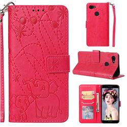 Embossing Fireworks Elephant Leather Wallet Case for Google Pixel 3 - Red