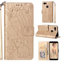 Embossing Fireworks Elephant Leather Wallet Case for Google Pixel 3 - Golden