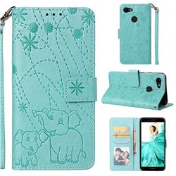 Embossing Fireworks Elephant Leather Wallet Case for Google Pixel 3 - Green