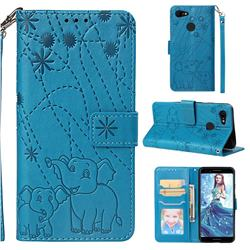 Embossing Fireworks Elephant Leather Wallet Case for Google Pixel 3 - Blue