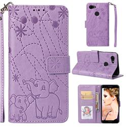 Embossing Fireworks Elephant Leather Wallet Case for Google Pixel 3 - Purple
