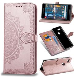 Embossing Imprint Mandala Flower Leather Wallet Case for Google Pixel 3 - Rose Gold