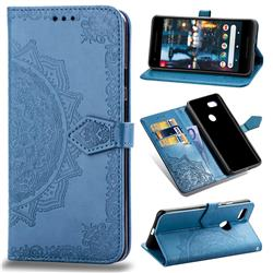 Embossing Imprint Mandala Flower Leather Wallet Case for Google Pixel 3 - Blue