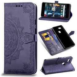 Embossing Imprint Mandala Flower Leather Wallet Case for Google Pixel 3 - Purple