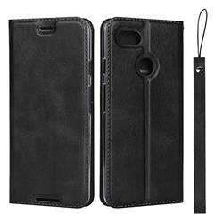 Calf Pattern Magnetic Automatic Suction Leather Wallet Case for Google Pixel 3 - Black
