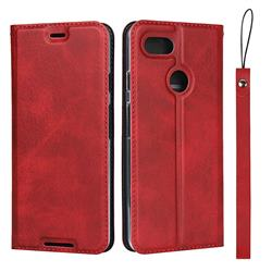Calf Pattern Magnetic Automatic Suction Leather Wallet Case for Google Pixel 3 - Red