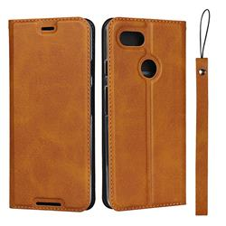 Calf Pattern Magnetic Automatic Suction Leather Wallet Case for Google Pixel 3 - Brown