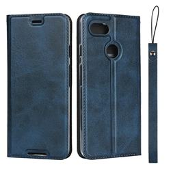 Calf Pattern Magnetic Automatic Suction Leather Wallet Case for Google Pixel 3 - Blue