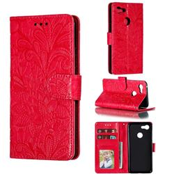 Intricate Embossing Lace Jasmine Flower Leather Wallet Case for Google Pixel 3 - Red
