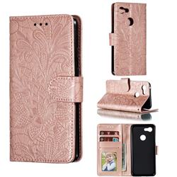 Intricate Embossing Lace Jasmine Flower Leather Wallet Case for Google Pixel 3 - Rose Gold