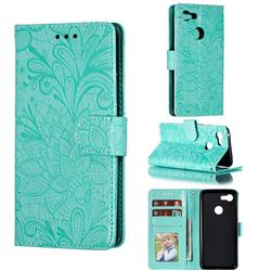 Intricate Embossing Lace Jasmine Flower Leather Wallet Case for Google Pixel 3 - Green