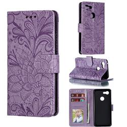 Intricate Embossing Lace Jasmine Flower Leather Wallet Case for Google Pixel 3 - Purple