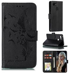 Intricate Embossing Lychee Feather Bird Leather Wallet Case for Google Pixel 3 - Black