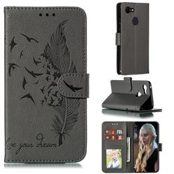 Intricate Embossing Lychee Feather Bird Leather Wallet Case for Google Pixel 3 - Gray