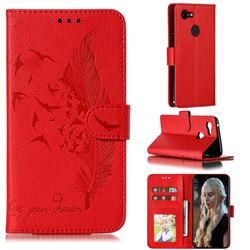 Intricate Embossing Lychee Feather Bird Leather Wallet Case for Google Pixel 3 - Red