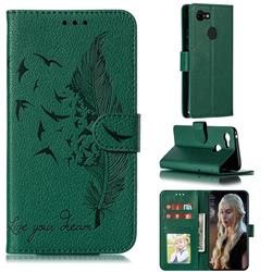 Intricate Embossing Lychee Feather Bird Leather Wallet Case for Google Pixel 3 - Green
