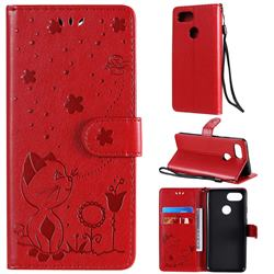 Embossing Bee and Cat Leather Wallet Case for Google Pixel 3 - Red