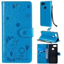 Embossing Bee and Cat Leather Wallet Case for Google Pixel 3 - Blue