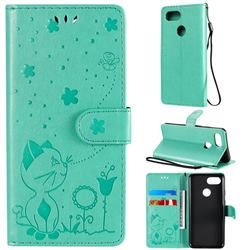 Embossing Bee and Cat Leather Wallet Case for Google Pixel 3 - Green