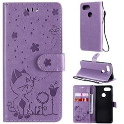 Embossing Bee and Cat Leather Wallet Case for Google Pixel 3 - Purple