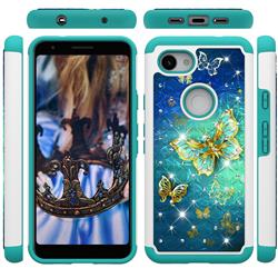 Gold Butterfly Studded Rhinestone Bling Diamond Shock Absorbing Hybrid Defender Rugged Phone Case Cover for Google Pixel 3A