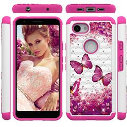 Rose Butterfly Studded Rhinestone Bling Diamond Shock Absorbing Hybrid Defender Rugged Phone Case Cover for Google Pixel 3A
