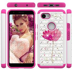 Watercolor Studded Rhinestone Bling Diamond Shock Absorbing Hybrid Defender Rugged Phone Case Cover for Google Pixel 3A