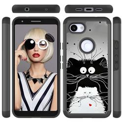 Black and White Cat Shock Absorbing Hybrid Defender Rugged Phone Case Cover for Google Pixel 3A