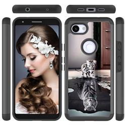 Cat and Tiger Shock Absorbing Hybrid Defender Rugged Phone Case Cover for Google Pixel 3A