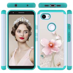 Pearl Flower Shock Absorbing Hybrid Defender Rugged Phone Case Cover for Google Pixel 3A