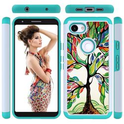 Multicolored Tree Shock Absorbing Hybrid Defender Rugged Phone Case Cover for Google Pixel 3A