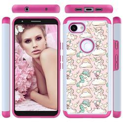 Pink Pony Shock Absorbing Hybrid Defender Rugged Phone Case Cover for Google Pixel 3A
