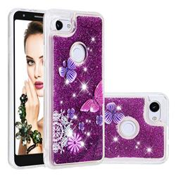 Purple Flower Butterfly Dynamic Liquid Glitter Quicksand Soft TPU Case for Google Pixel 3A