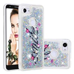 Smile Flower Dynamic Liquid Glitter Quicksand Soft TPU Case for Google Pixel 3A